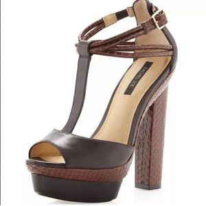 Rachel Zoe Peep Toe Platform Snakeskin Heels 9.5